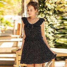 Chiffon A Linie Kleid mit Punkten Muster und Raffung