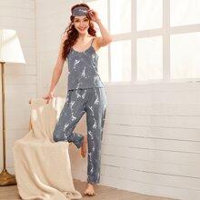 Conjunto de pijama de tirante con estampado de ballena