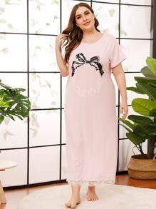 Plus Bow Print Lace Hem Night Dress
