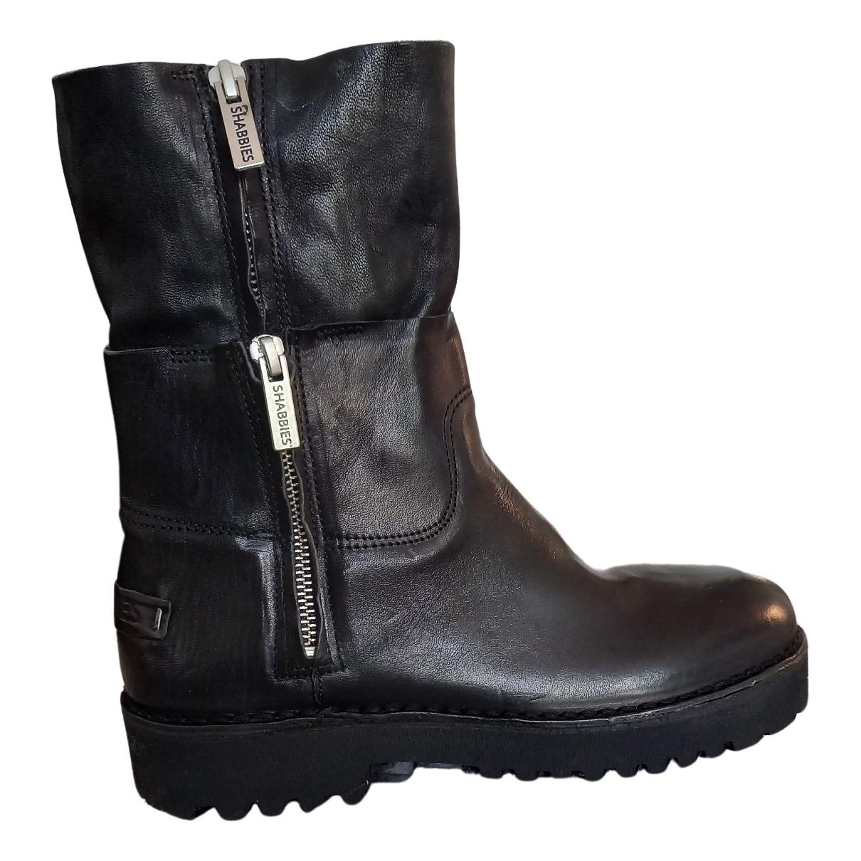 Shabbies - Bottes.Boots   pour homme en cuir - noir