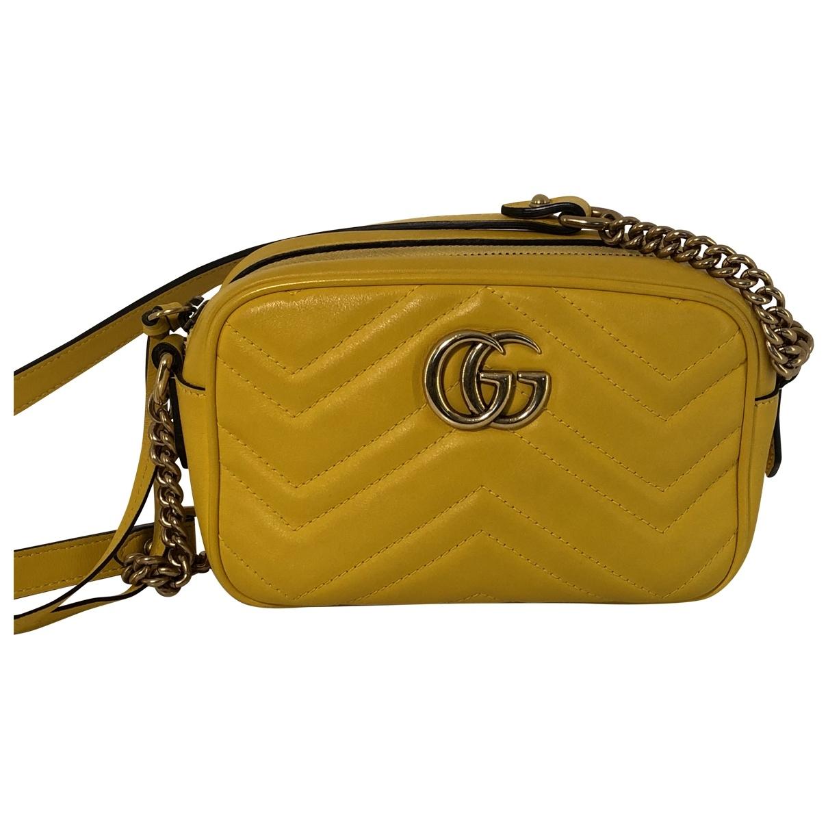 Gucci - Sac a main Marmont pour femme en cuir - jaune