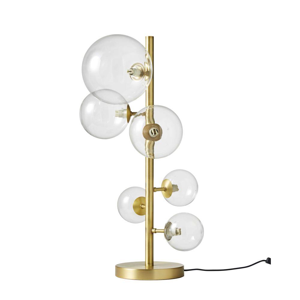 Lampe mit 6 Glaskugelschirmen und goldfarbenem Metallgestell