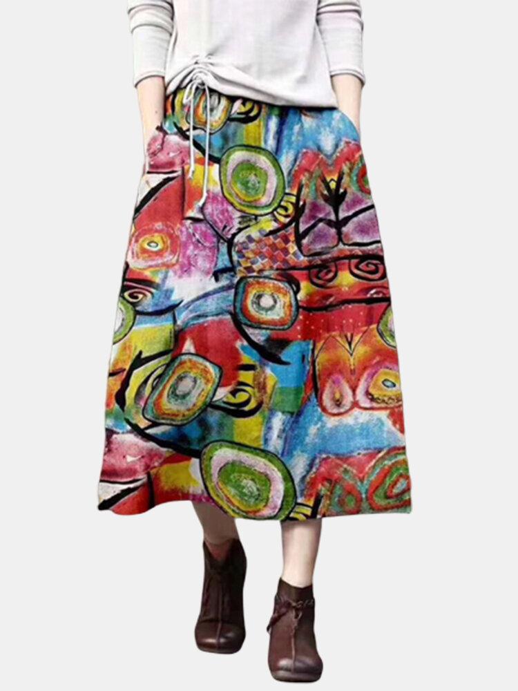 Graffiti Print Elatic Waist Plus Size Vintage Skirt