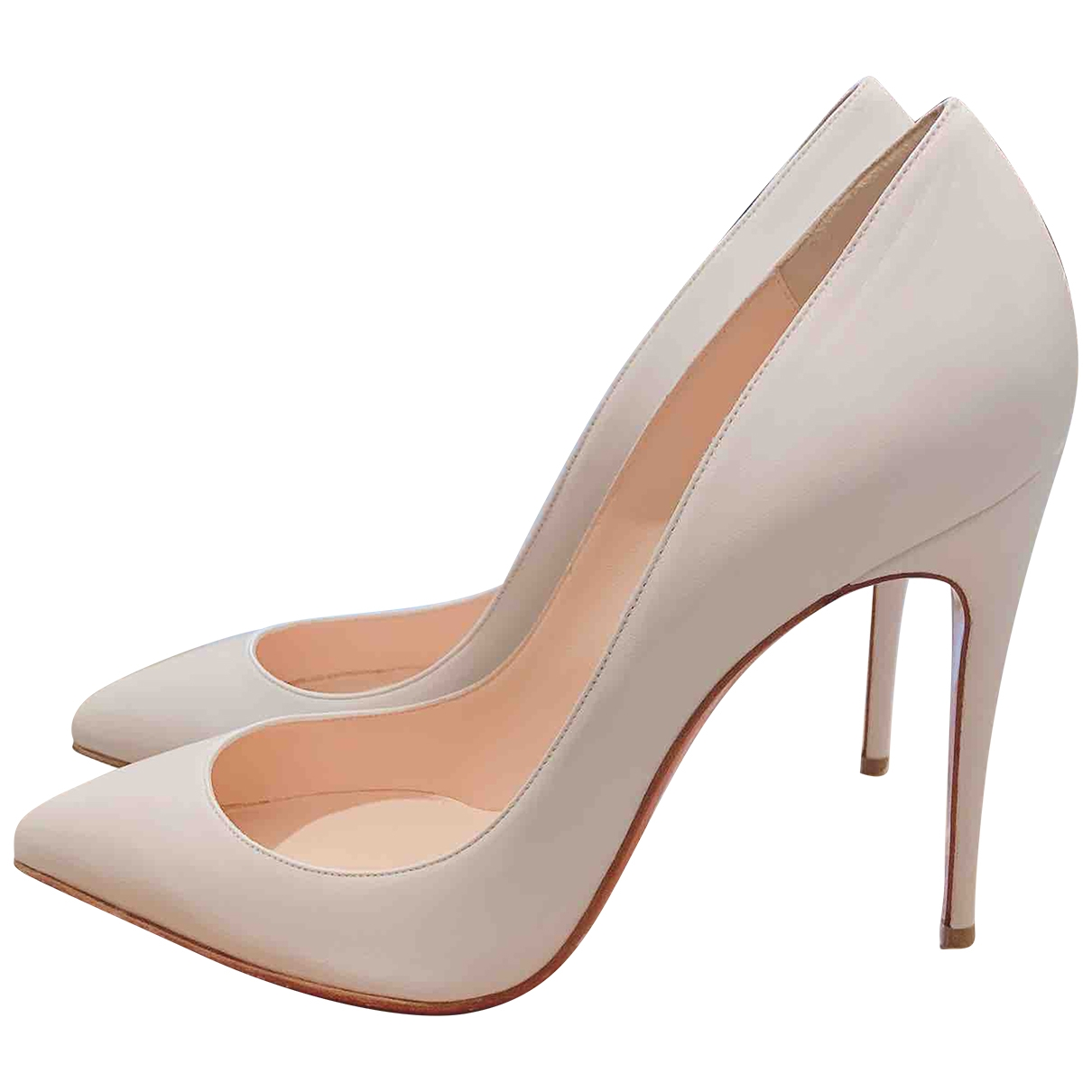 Christian Louboutin Pigalle White Leather Heels for Women 40 EU