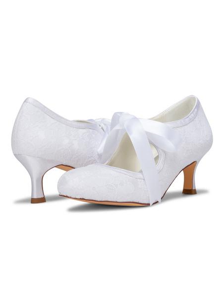Milanoo Zapatos de novia de saten Zapatos de Fiesta de tacon de kitten Zapatos azul  Zapatos de boda de puntera redonda 6cm