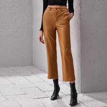 High Waist PU Leather Straight Pants
