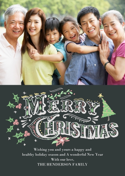 Christmas Photo Cards 5x7 Cards, Premium Cardstock 120lb with Elegant Corners, Card & Stationery -Hand Drawn Christmas