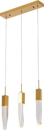 ADS14C3G Island Lighting with Clear Iceberg Pendants  Hung By Adjustable Cords  in Gold Metal