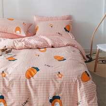 Set ropa de cama con estampado de zanahoria y conejo sin relleno