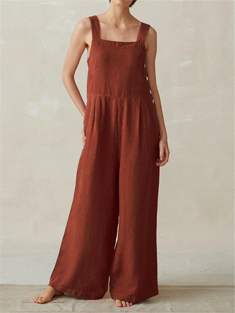 Sleeveless Strappy Wide Legged Button Jumpsuits