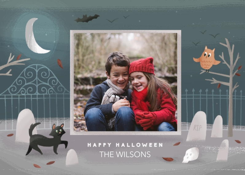 Halloween Photo Cards Flat Matte Photo Paper Cards with Envelopes, 5x7, Card & Stationery -Graveyard Greetings