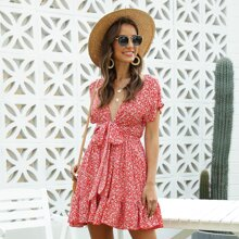 Plunging Neck Knot Front Ditsy Floral Dress
