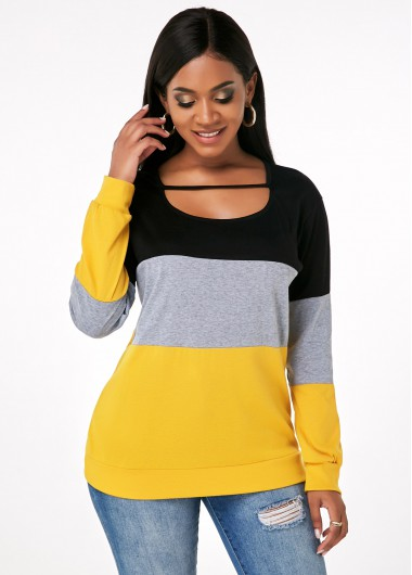 Rosewe Women Color Block Long Sleeve Cutout Front Tunic Fall T Shirt Black And Yellow Casual Top - S