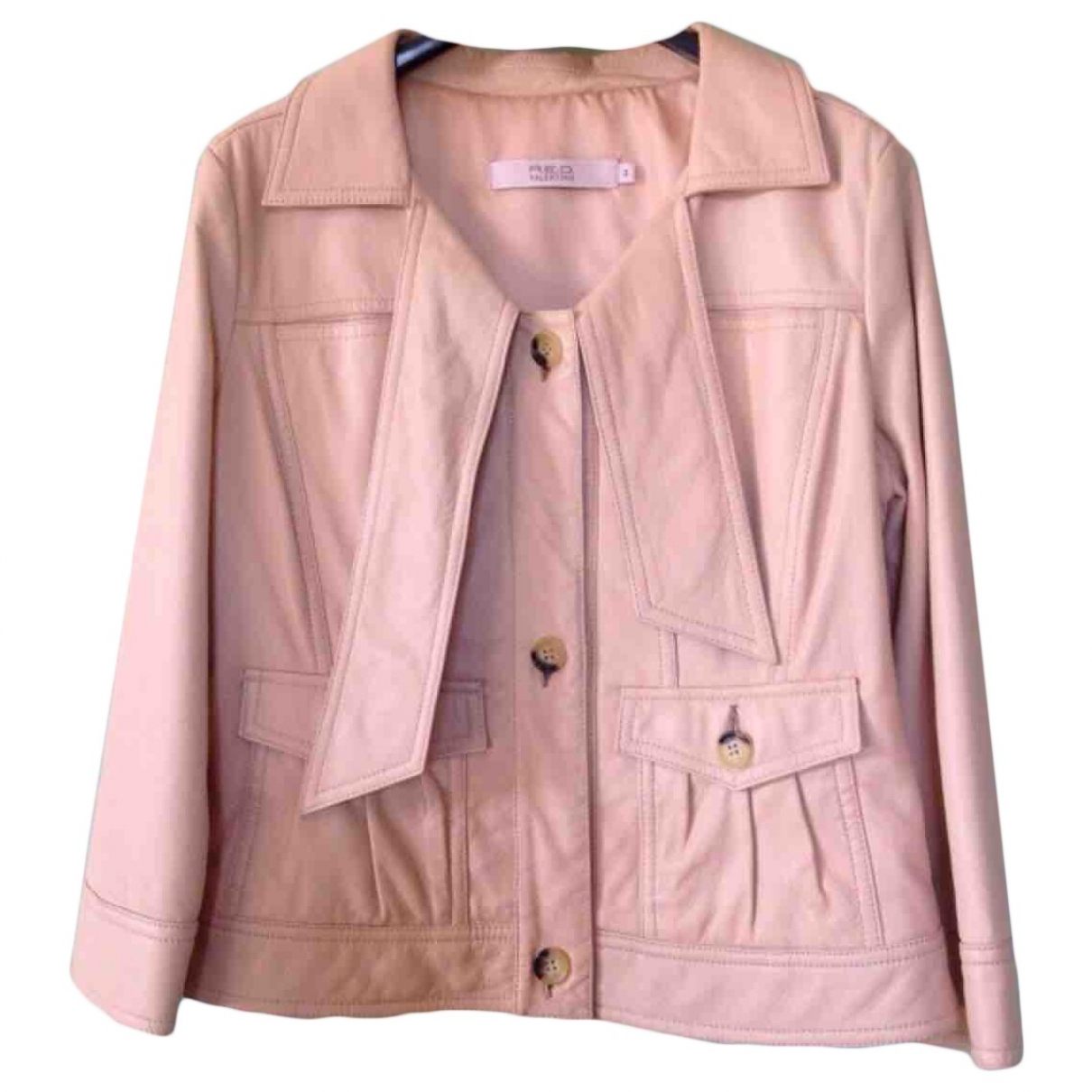 Red Valentino Garavani \N Pink Leather Leather jacket for Women 44 IT