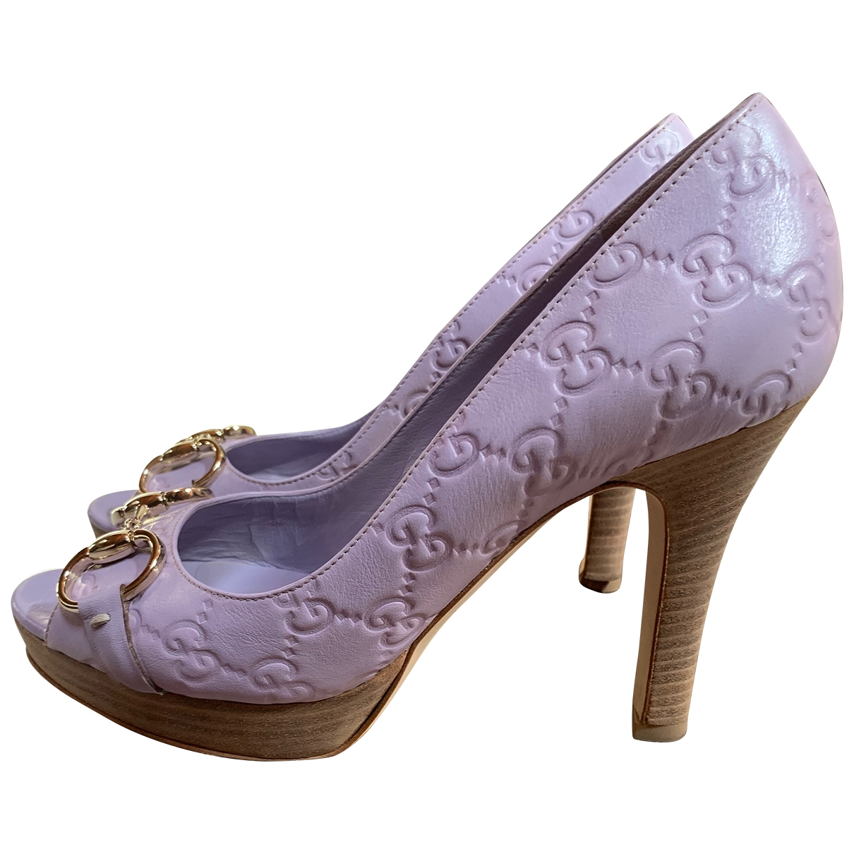 Gucci \N Purple Leather Heels for Women 36.5 IT