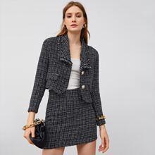 Conjunto blazer tweed con solapa con falda sin cadena