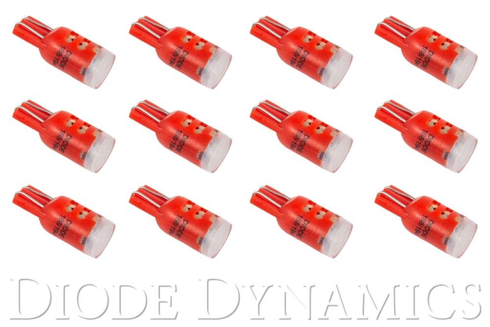 Diode Dynamics DD0023TW 194 LED Bulb HP3 LED Red Set of 12