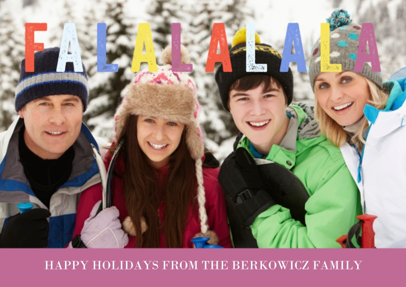 Holiday Photo Cards 5x7 Cards, Premium Cardstock 120lb with Elegant Corners, Card & Stationery -Falalala