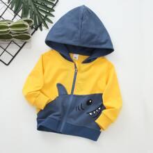 Toddler Boys Shark Pattern Spliced Hooded Jacket