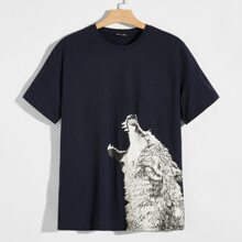 Camiseta con estampado de lobo