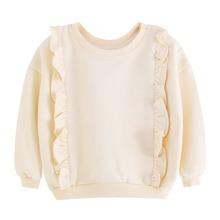 Sweatshirt mit Rueschen und sehr tief angesetzter Schulterpartie