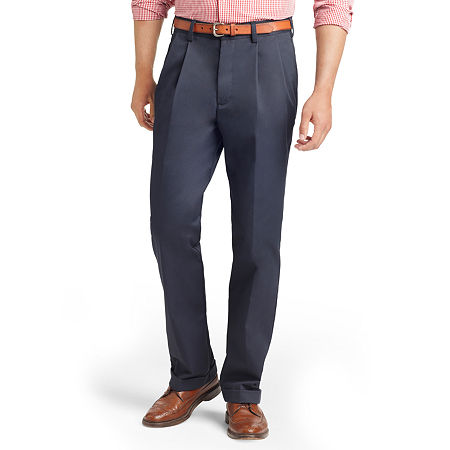 IZOD American Chino Classic Fit Pleated Pant, 40 32, Blue