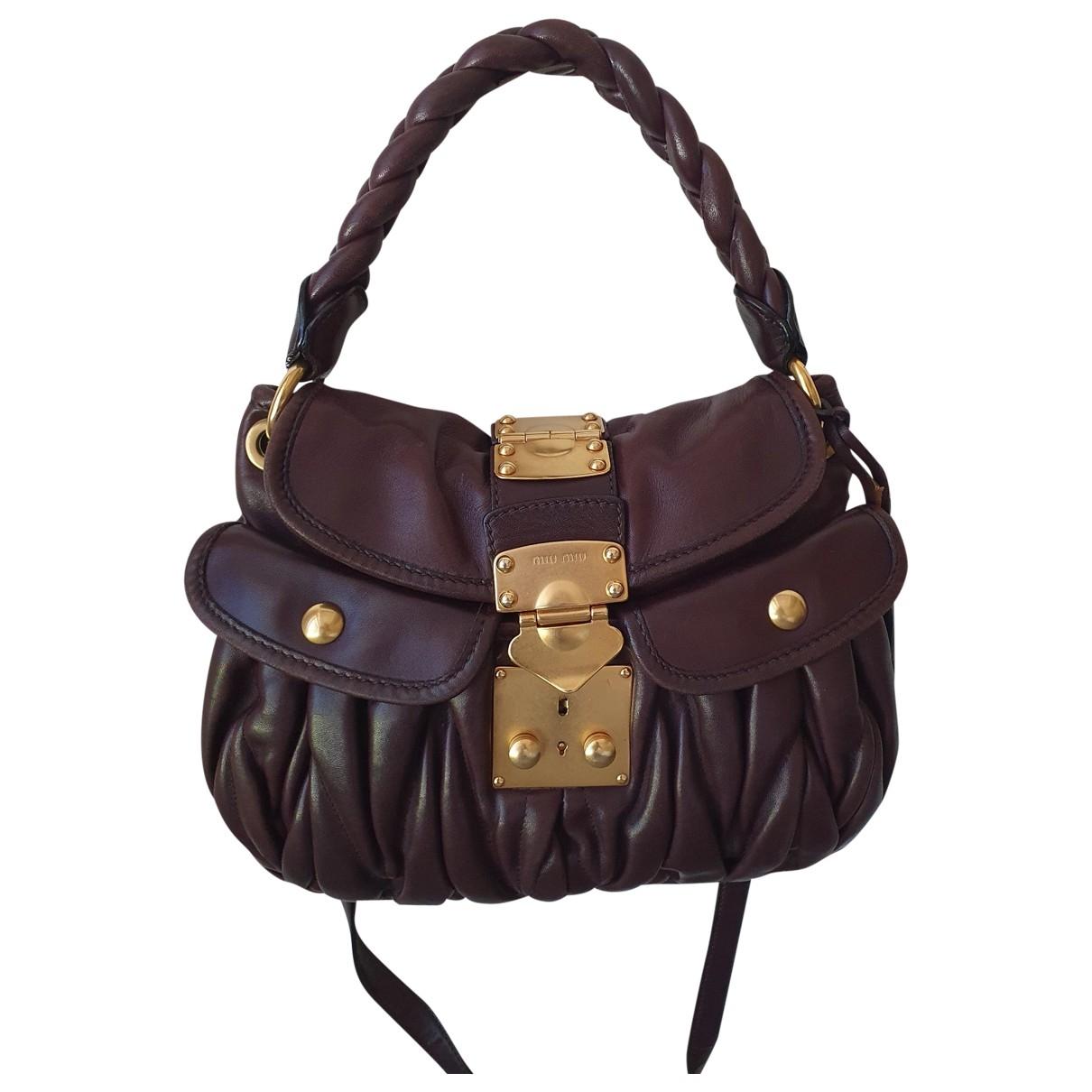 Miu Miu Coffer Brown Leather handbag for Women \N