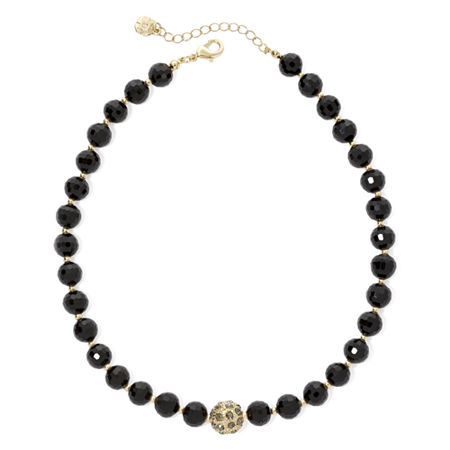 Monet Gold-Tone Black Bead Collar Necklace, One Size , Black