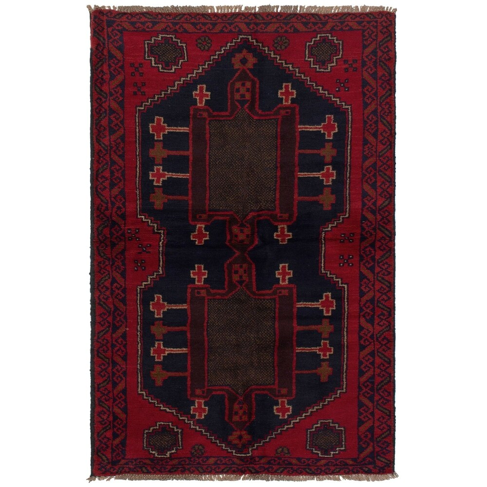 ECARPETGALLERY Hand-knotted Teimani Red Wool Rug - 3'7 x 6'3 (Red - 3'7 x 6'3)