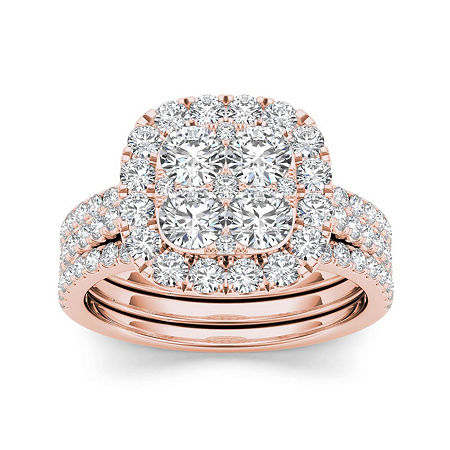 2 CT. T.W. Diamond 14K Rose Gold Bridal Ring Set, 9 , No Color Family