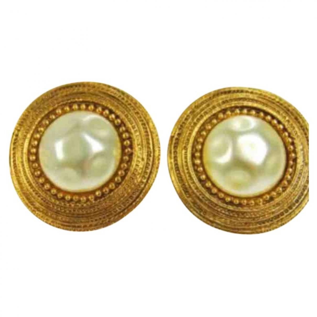 Chanel - Boucles doreilles Baroque pour femme en perles - dore
