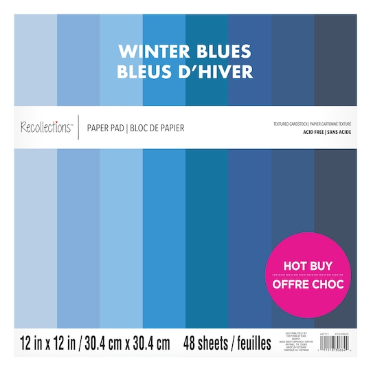 Winter Blues Textured Cardstock Paper Pad By Recollections™, 12