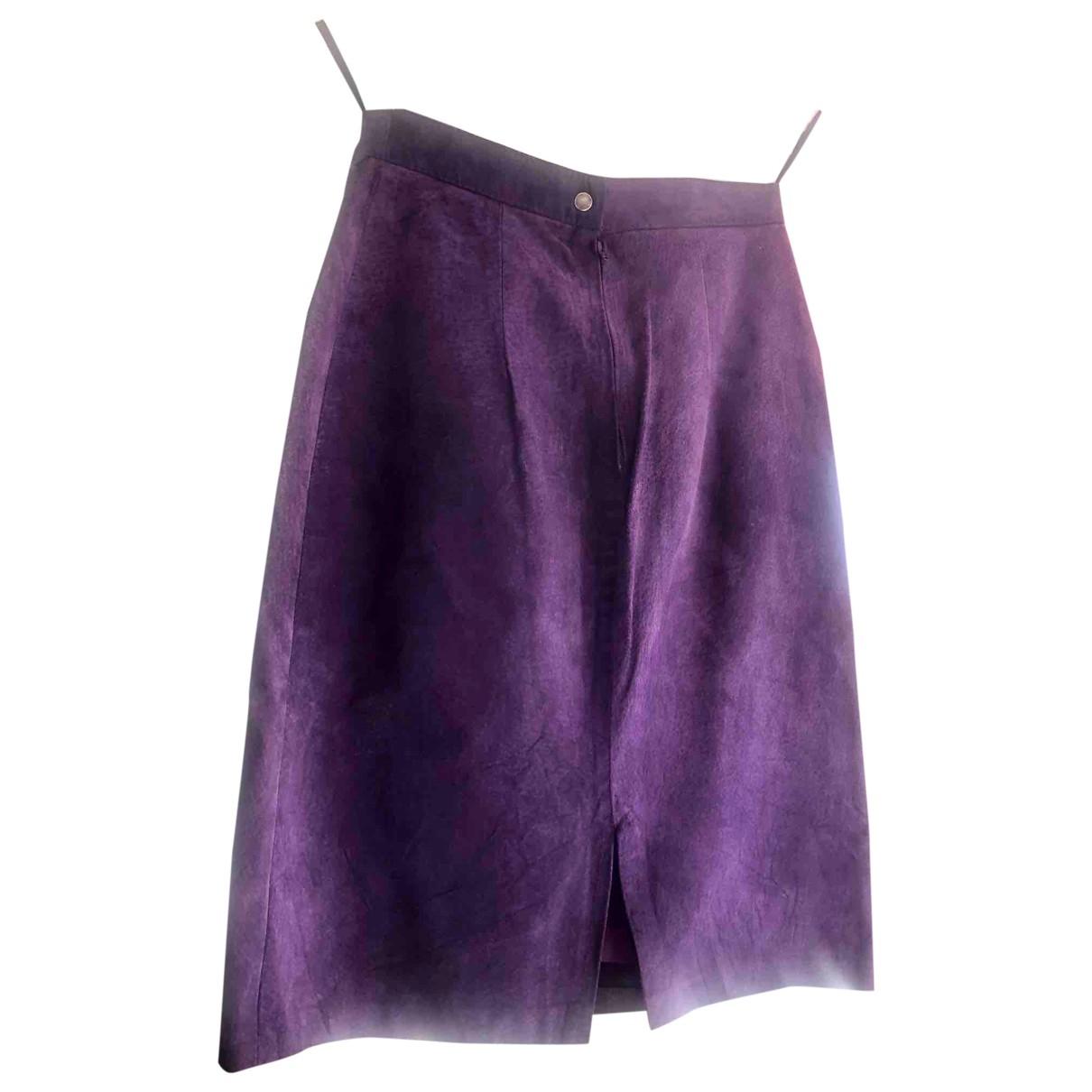 - Jupe   pour femme en cuir - violet