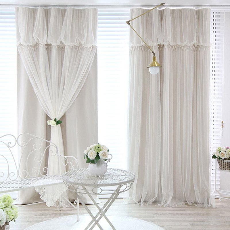 Romantic Pastoral Princess Lace Sheer and Blackout Cloth Sewing Together Double Pinch Pleat Curtain