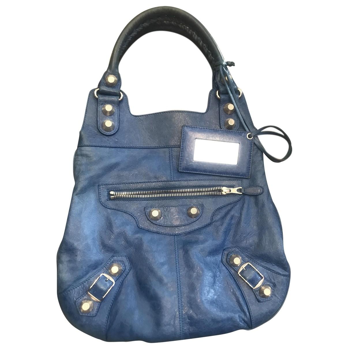 Balenciaga Day  Blue Leather handbag for Women \N