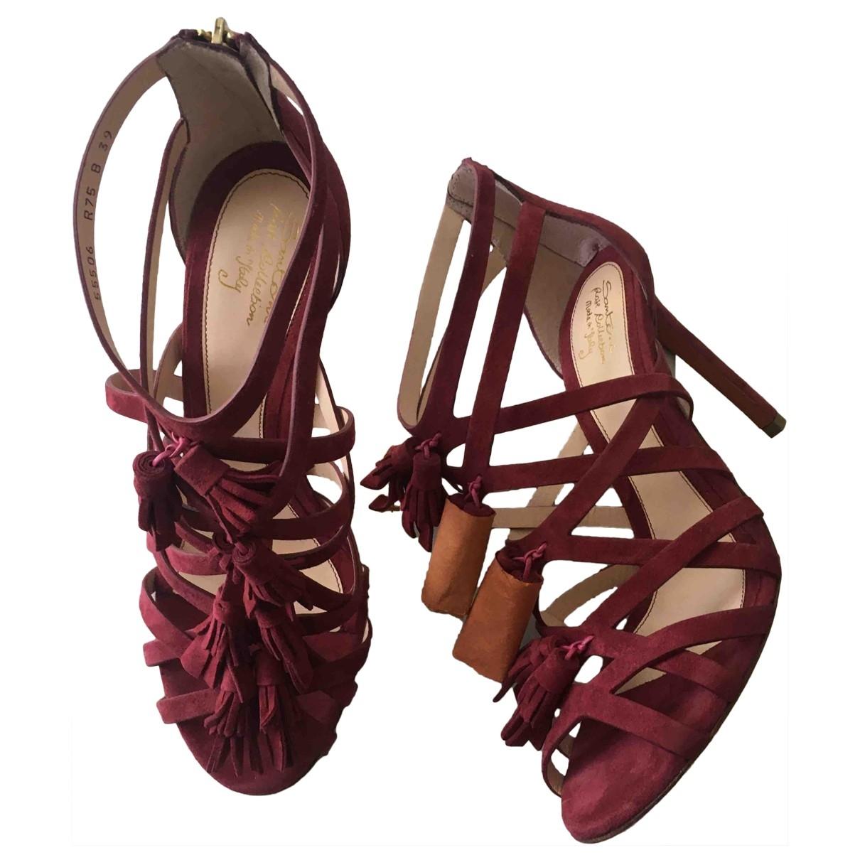 Santoni - Sandales   pour femme en cuir - rose