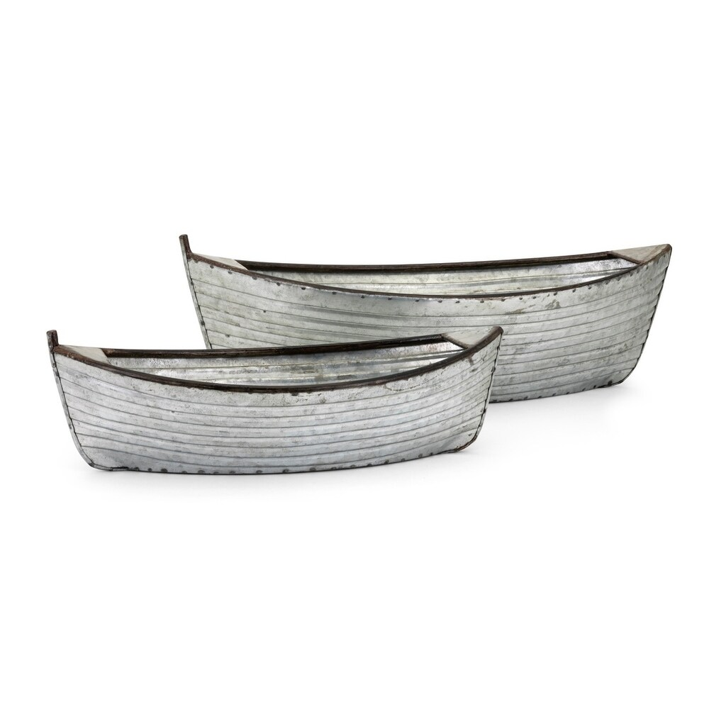 Vintage Style Iron Planters with Boat Shape Design, Gray, Set of 2