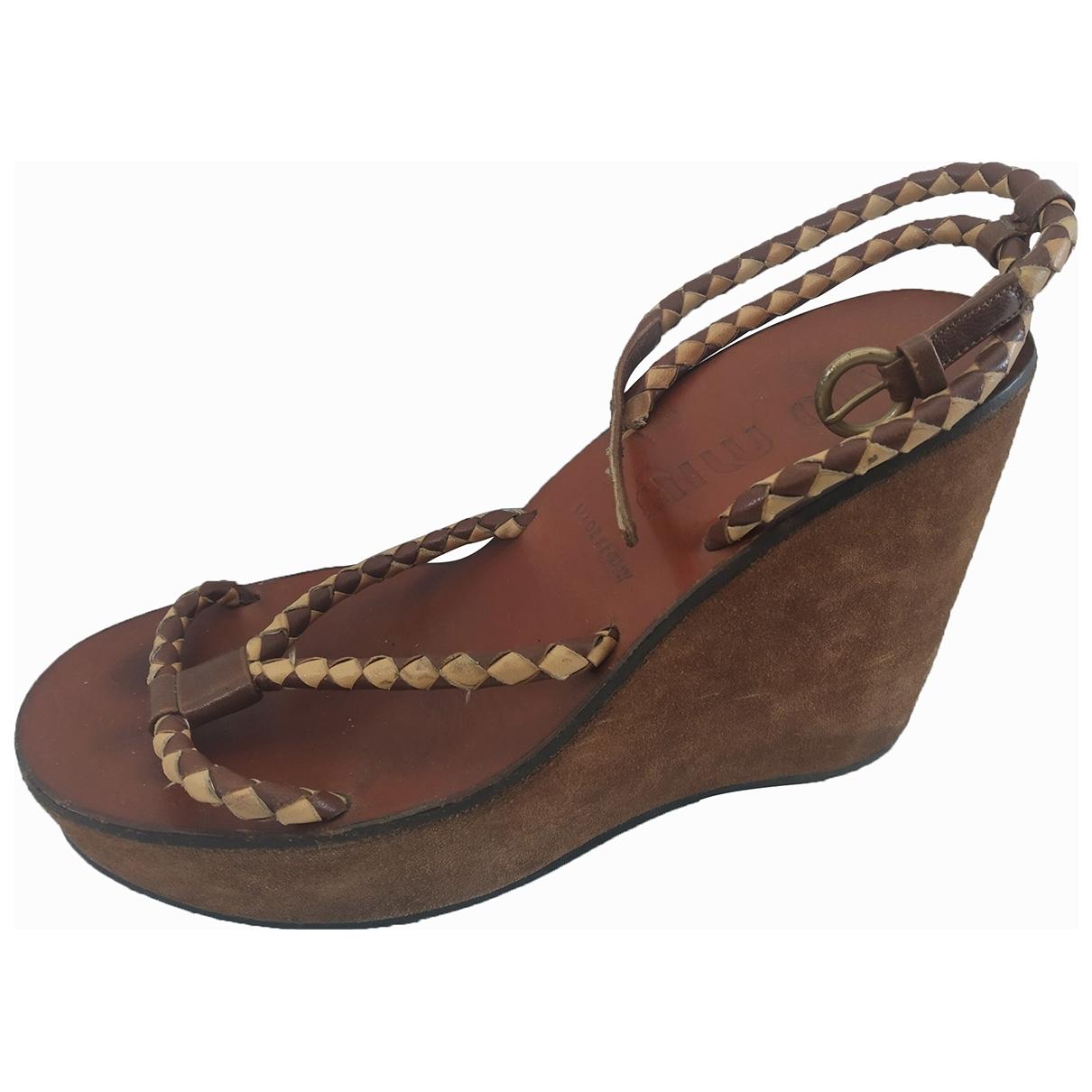 Miu Miu \N Brown Leather Sandals for Women 36.5 EU