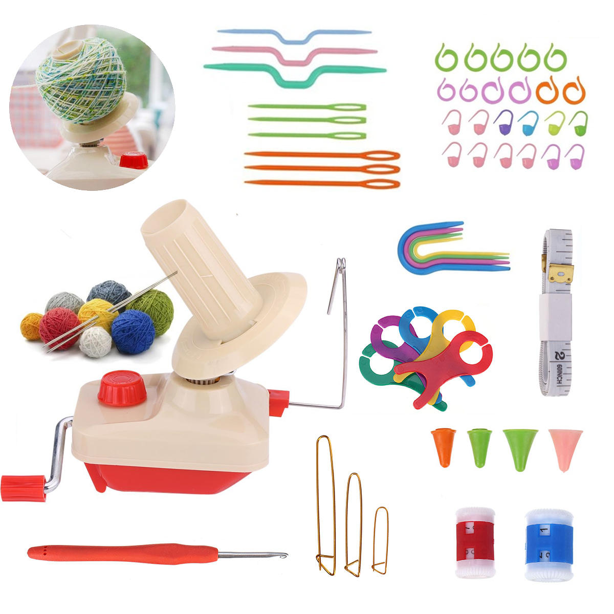 Winding String Machine Ruler Crochet Needle Wool Bobbin Buckle Counting Ring DIY Knitting Tools Kit