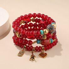 4pcs Heart & Owl Charm Beaded Bracelet