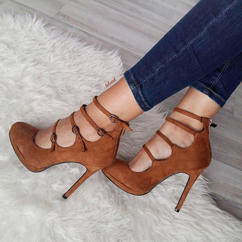Ericdress Suede Buckle 	High-Cut 	Stiletto Heel Pumps