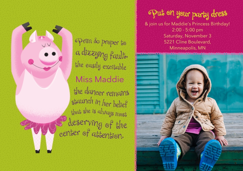 Kids Birthday Party Invites Flat Matte Photo Paper Cards with Envelopes, 5x7, Card & Stationery -Animal Personality Birthday Pig
