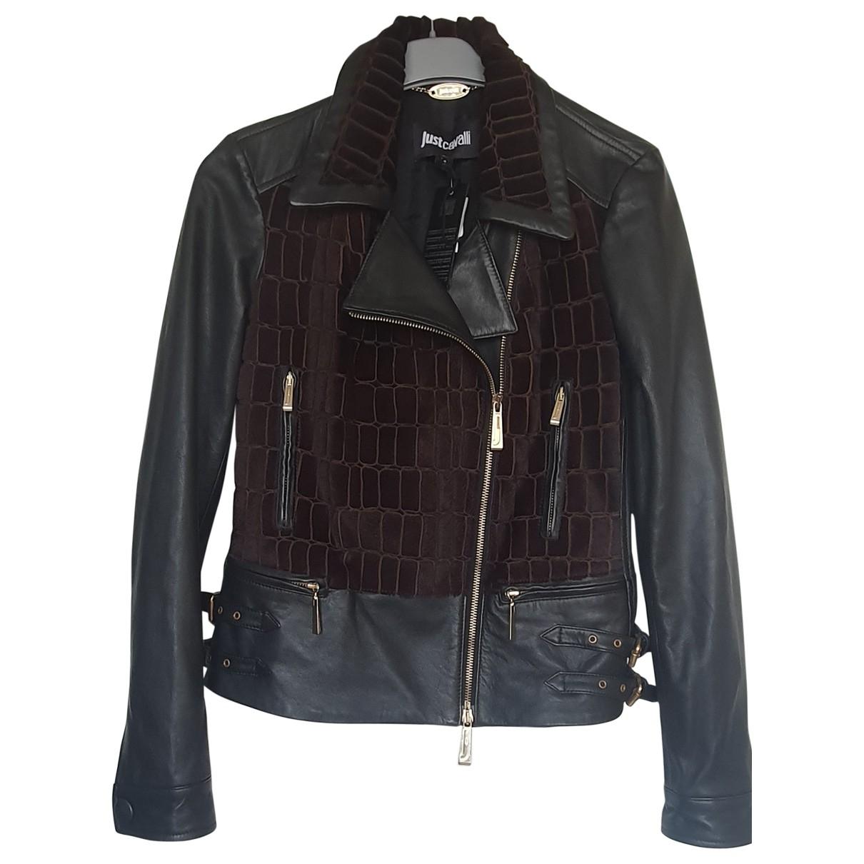 Just Cavalli - Veste   pour femme en cuir - noir