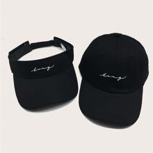 2pcs Letter Embroidery Visor Hat & Baseball Cap