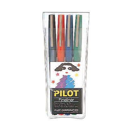 Pilot@ Fineliner 0.4 mm Extra Fine Tip Felt Pen, 4/Box - Assorted