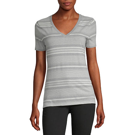 a.n.a-Tall Womens V-Neck T-Shirt, Small Tall , Gray