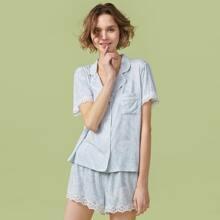 PJM Lace Trim Paisley Blouse & Shorts PJ Set