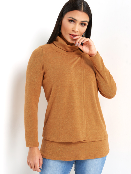Yoins Yellow Tiered Design Plain Drape Sagging 3/4 Length Sleeves T-shirts