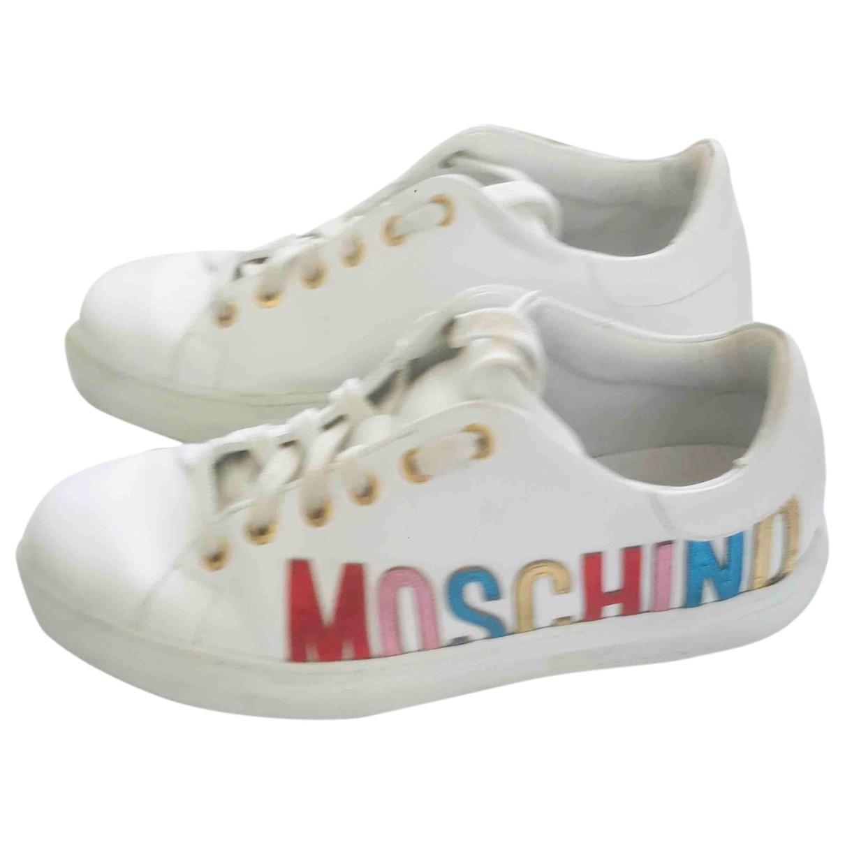Moschino - Baskets   pour femme en cuir - blanc