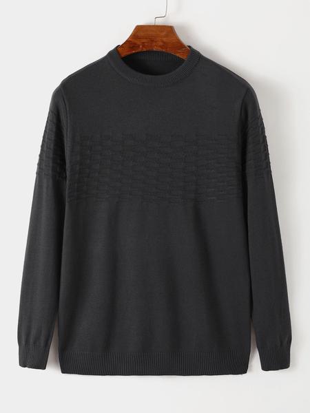 Yoins MEN Crew Neck Long Sleeve Knitted Sweater